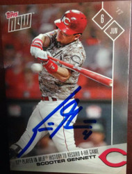 Scooter Gennett Autographed 2017 Topps Now #222 June 6, 2017 4 Home Runs in a Game!!