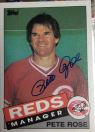 Pete Rose Autographed 1985 Topps #547