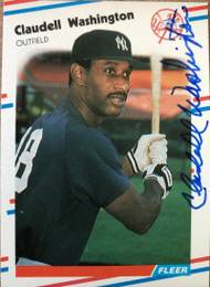 Claudell Washington Autographed 1988 Fleer #225
