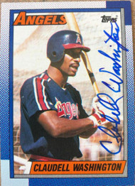 Claudell Washington Autographed 1990 Topps #705