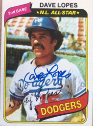 Davey Lopes Autographed 1980 Topps #560