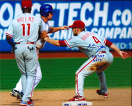 Eric Bruntlett  Autographed Phillies 8 x 10  Photo Unassisted Triple Play