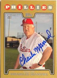Charlie Manuel Autographed 2008 Topps Gold #632 LE 2000