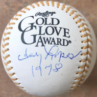 Davey Lopes Autographed Rawlings Official Gold Glove Baseball 1978