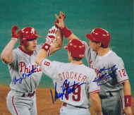 Lenny Dykstra, Kevin Stocker & Mickey Morandini Autographed Phillies 8 x 10  Photo