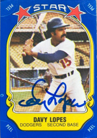 Davey Lopes Autographed 1981 Fleer Star Stickers #67