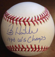 SOLD 3537 Billy Hatcher Autographed and Inscribed ROMLB Baseball