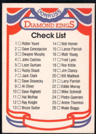 1984 Donruss #NNO Diamond Kings Checklist 1-26 VG