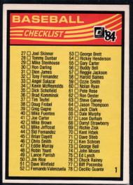 1984 Donruss #NNO1 Checklist 27-130 VG