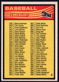 1984 Donruss #NNO4 Checklist 339-442 VG