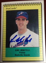 Gino Minutelli Autographed 1991 Pro Cards Minor League #2153
