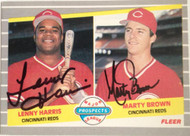 Lenny Harris and Marty Brown Autographed 1989 Fleer #645