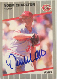 Norm Charlton Autographed 1989 Fleer #155