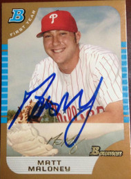 Matt Maloney Autographed 2005 Bowman Draft Gold #73