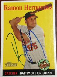 Ramon Hernandez Autographed 2007 Topps Heritage #429