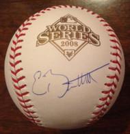 Eric Bruntlett Autographed 2008 World Series Baseball