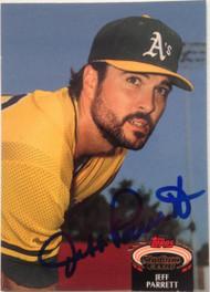Jeff Parrett Autographed 1992 Stadium Club #834