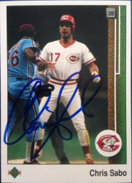 SOLD 4701 Chris Sabo Autographed 1989 Upper Deck #180