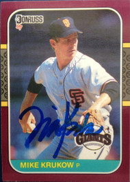 Mike Krukow Autographed 1987 Donruss Opening Day #98