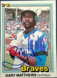 Gary Matthews Autographed 1981 Donruss #306 Spelling Corrected