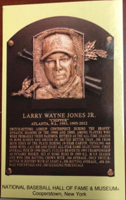 Chipper Jones Stamped and Canceled Hall of Fame Gold Plaque Postcard