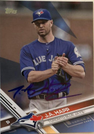 JA Happ Autographed 2017 Topps Series 2 Fathers Day Blue Parallel 16/50 #662