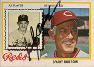 Sparky Anderson Autographed 1978 Topps #401