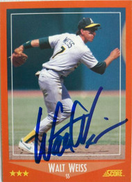 Walt Weiss Autographed 1988 Score Rookie Traded #102T