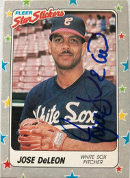 Jose DeLeon Autographed 1988 Fleer Star Stickers #15