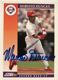 Mariano Duncan Autographed 1992 Score Rookie/Traded #54T