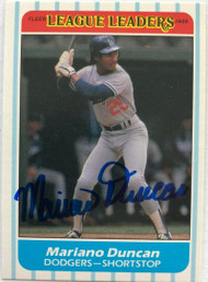 Mariano Duncan Autographed 1986 Fleer League Leaders #40