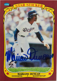 Mariano Duncan Autographed 1986 Fleer Star Stickers #33
