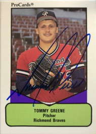 Tommy Greene Autographed 1990 Pro Cards AAA #398
