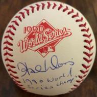 Hal Morris 1990 World Series Champ Autographed 1990 World Series Baseball