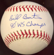 Billy Bates 90 WS Champs Autographed Rawlings Official Major League Baseball VERY RARE