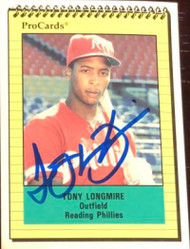 Tony Longmire Autographed 1991 Reading Phillies Pro Cards #1382