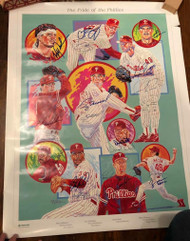 1993 Pride of the Phillies Pitching Staff Dick Perez Poster Autographed by All  TOUGH TO FIND