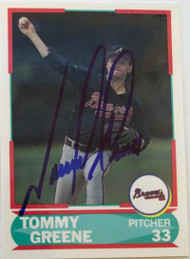 Tommy Greene Autographed 1990 Score Young Superstars II #24