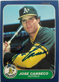 Jose Canseco Autographed 1986 Fleer Update #U-20 Rookie Card