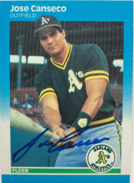 Jose Canseco Autographed 1987 Fleer #389