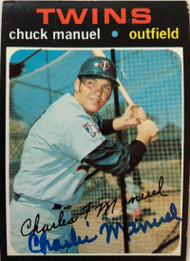 "Chuck ""Charlie"" Manuel Autographed 1971 Topps #744"