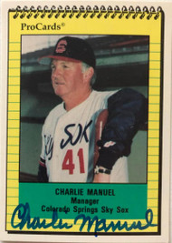 Charlie Manuel Autographed 1991 Colorado Springs Sky Sox Pro Cards #2200