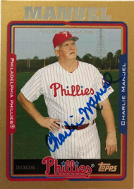 Charlie Manuel Autographed 2005 Topps Update Gold #87 LE/2005