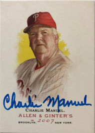 Charlie Manuel Autographed 2007 Topps Allen & Ginter #94