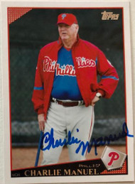 Charlie Manuel Autographed 2009 Topps #496