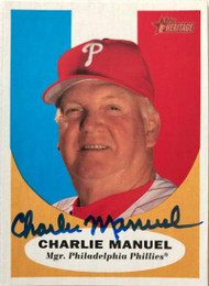 Charlie Manuel Autographed 2010 Topps Heritage #219