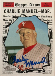 Charlie Manuel Autographed 2010 Topps Heritage #462