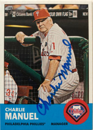 Charlie Manuel Autographed 2012 Topps Heritage #318