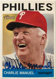 Charlie Manuel Autographed 2013 Topps Heritage #157