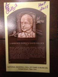 Pat Gillick Autographed Hall of Fame Gold Plaque Postcard